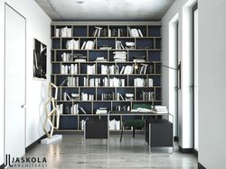 Gabinet z biblioteką ( regał ze sklejki Intterno ) i ikonami designu